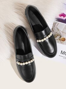 Faux Pearl Decor Loafers
