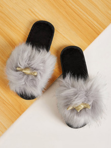 Faux Fur Decor Open Toe Slippers