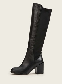 Side Zip Detail Chunky Heeled Tall Boots