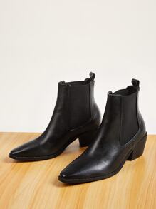 Point Toe Chunky Heeled Chelsea Boots