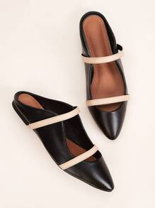 Point Toe Double Strap Flat Mules