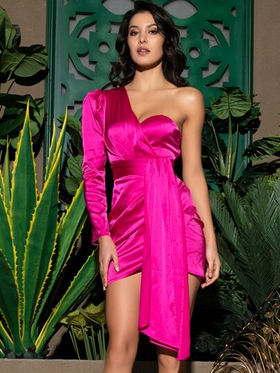 LOVE&LEMONADE Neon Pink One Shoulder Draped Satin Dress
