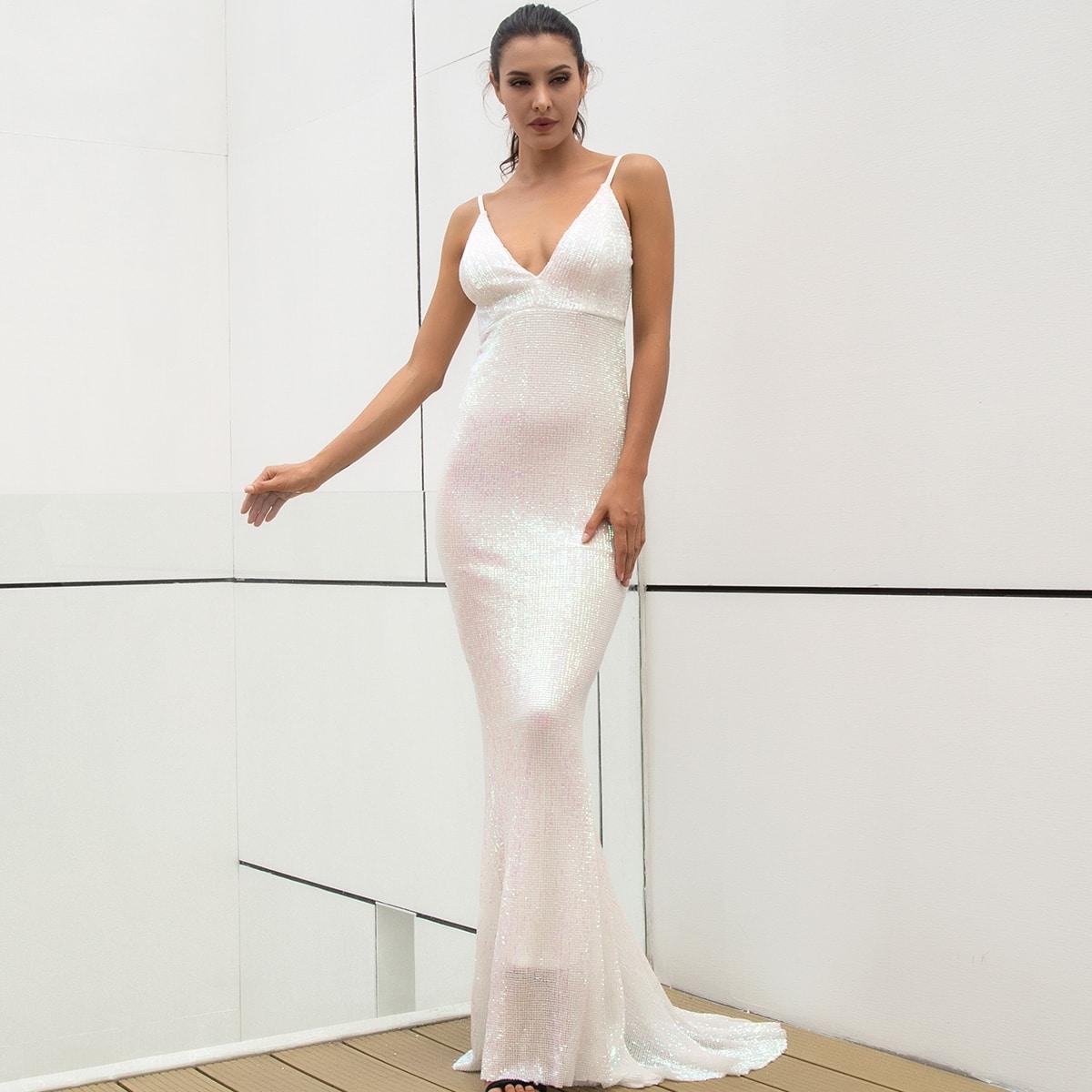 платье-русалка на бретелях с блестками