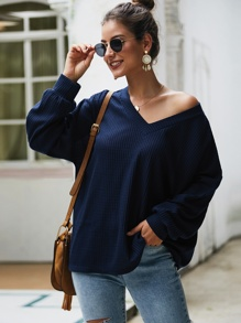 Solid V-Neck Drop Shoulder Sweater