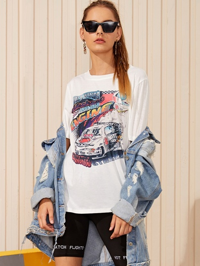 Letter And Car Print Tee