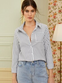Vertical Stripe Pocket Front Blouse