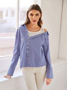 Striped Button Front Asymmetrical Shoulder Blouse