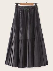 Pleated Ruffle Hem A-line Skirt