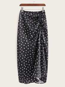 Polka Dot Ruched Front Skirt