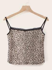 Leopard Print Lace Panel Cami Top