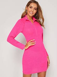 Neon Pink Zip Front High Neck Sweater Dress
