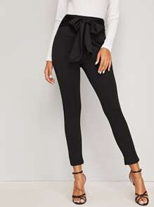 Knot Front High Waist Skinny Pants
