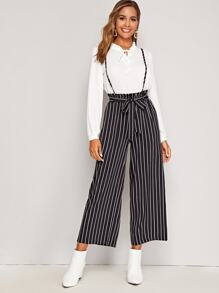 Vertical Striped Frill Waist Belted Pants