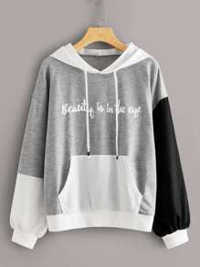 Letter Print Color-block Pocket Hoodie
