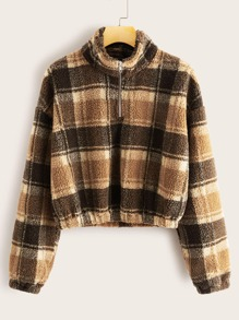 Tartan Plaid Zip Front Teddy Sweatshirt