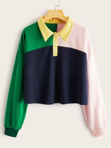 Color-block Button Front Polo Collar Sweatshirt