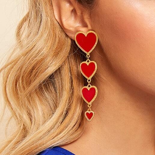 Ohrringe mit Herzen Design 1 Paar