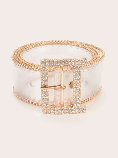 New Year Rhinestone Engraved Square Buckle Transparent Belt