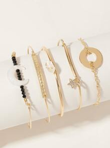 5pcs Star & Moon Decor Bracelet Set
