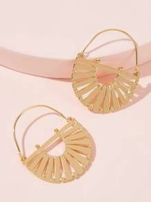 1pair Hollow Semi-circular Earrings