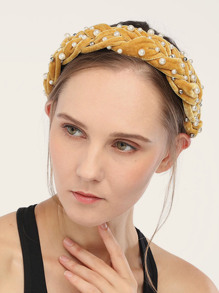 Faux Pearl Braided Headband