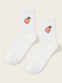 1pair Peach Embroidery Socks