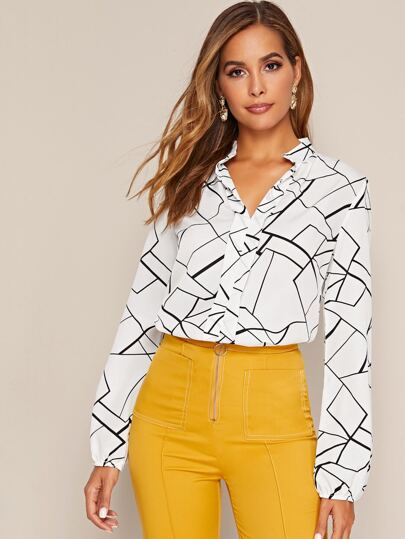 Notch Neck Geo Print Blouse