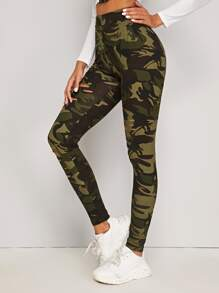Camo Print Cut Out Ripped Leggings