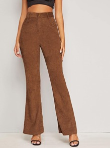 Button Fly Flare Leg Corduroy Pants