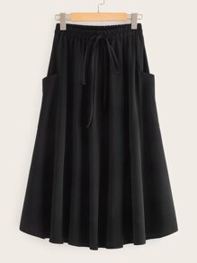 Dual Pocket Drawstring Flared Skirt