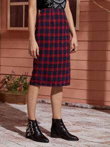 Tartan Plaid Slit Back Straight Skirt