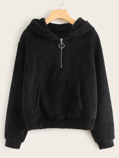 O-ring Half Zip Hooded Teddy Sweatshirt