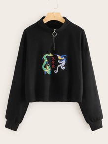 O-ring Half Zip Dragon Print Sweatshirt