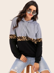Contrast Panel Leopard Drawstring Hoodie