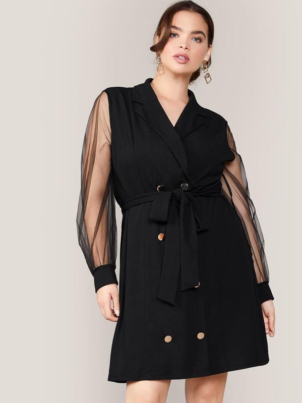 Plus Notched Collar Mesh Sleeve Self Belted Blazer Dress