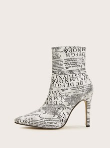Letter Print Point Toe Side Zip Stiletto Boots