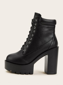 Lace-up Front Lug Sole Chunky Heeled Boots