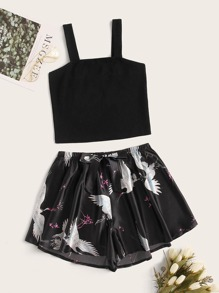 Rib Top With Crane Print Satin Shorts