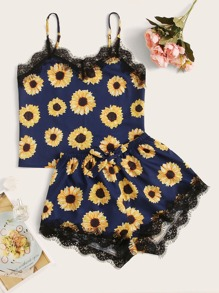 Sunflower Print Lace Trim Cami Pajama Set