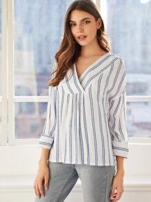 Surplice Front Striped Print Blouse
