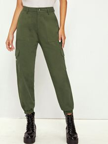 Pocket Side Solid Cargo Pants