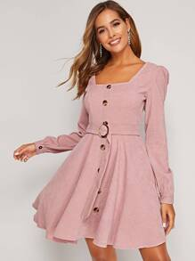 Button Through Belted Corduroy Flared Dress