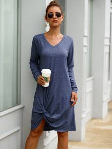 Twist Hem Space Dye Tee Dress