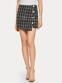 Button Front Tweed Mini Skirt