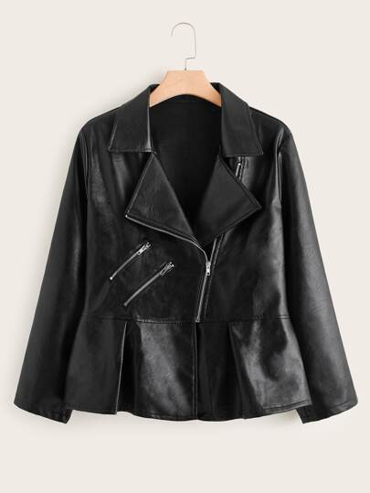 Plus Zip Detail PU Peplum Moto Jacket