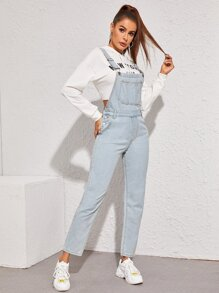 Washed Pocket Front Denim Overall