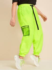 Plus Neon Yellow Pocket Side Buckle Detail Joggers