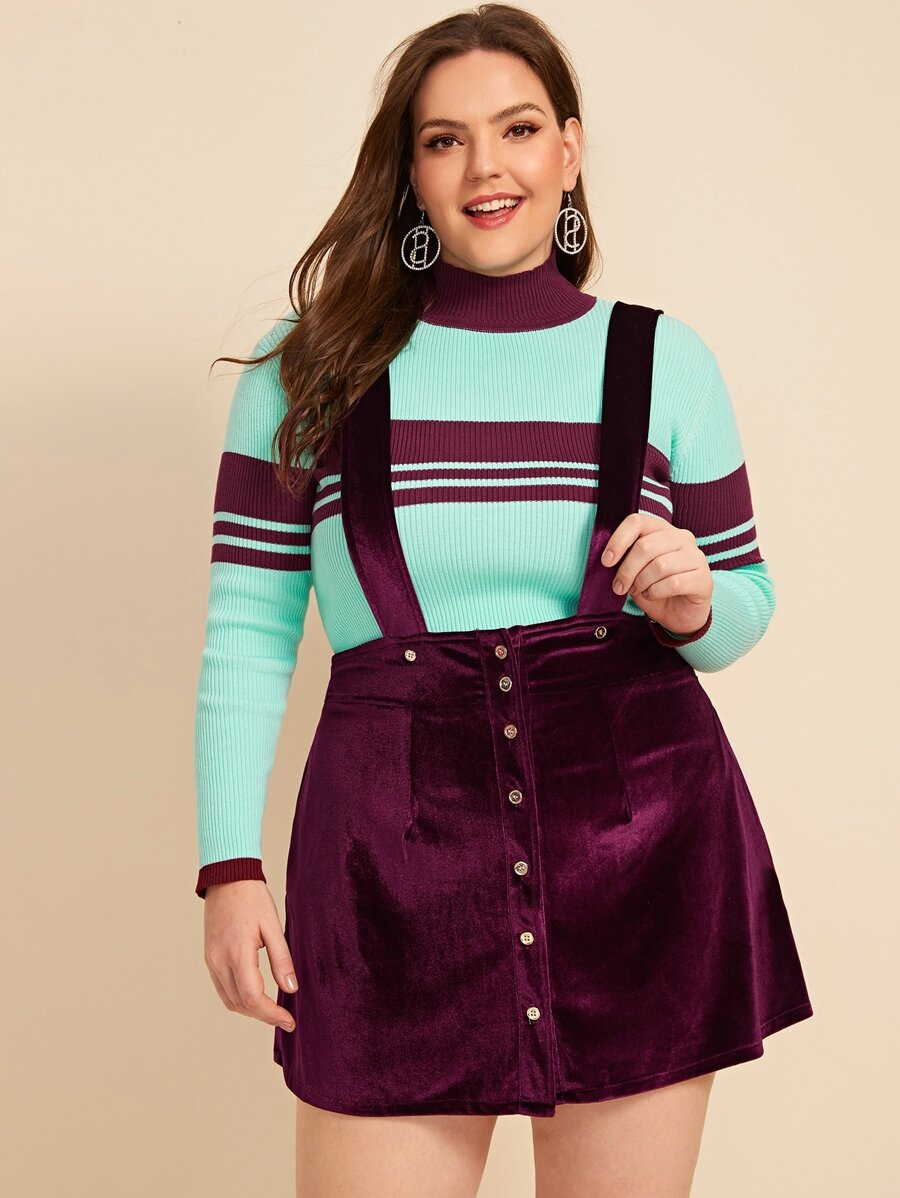 Plus Button Front Velvet Skirt With Strap by Shein