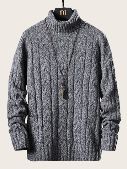 Guys High Neck Cable Knit Jumper