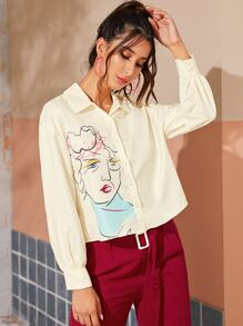 Abstract Figure Print Blouse